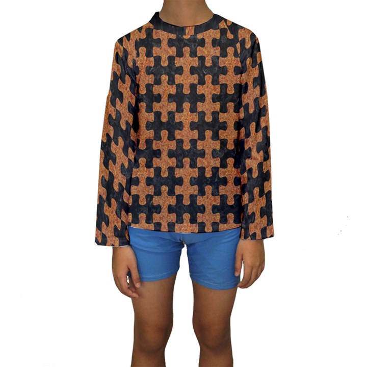 PUZZLE1 BLACK MARBLE & RUSTED METAL Kids  Long Sleeve Swimwear