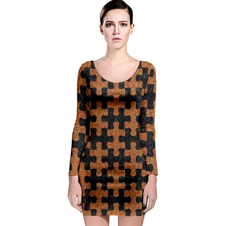 PUZZLE1 BLACK MARBLE & RUSTED METAL Long Sleeve Bodycon Dress