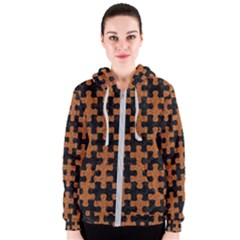 Puzzle1 Black Marble & Rusted Metal Women s Zipper Hoodie