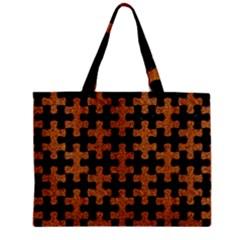 Puzzle1 Black Marble & Rusted Metal Zipper Mini Tote Bag by trendistuff