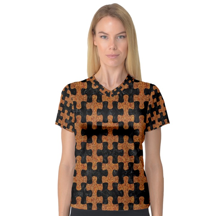 PUZZLE1 BLACK MARBLE & RUSTED METAL V-Neck Sport Mesh Tee