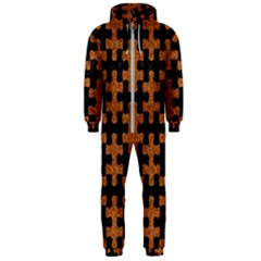 Puzzle1 Black Marble & Rusted Metal Hooded Jumpsuit (men)