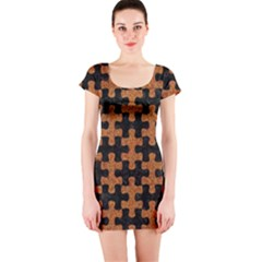 Puzzle1 Black Marble & Rusted Metal Short Sleeve Bodycon Dress