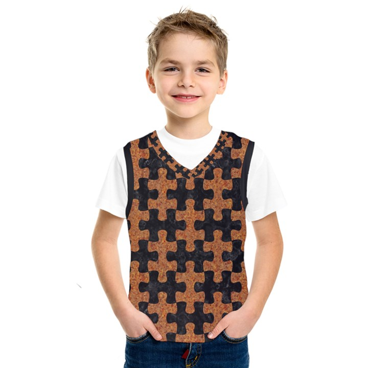 PUZZLE1 BLACK MARBLE & RUSTED METAL Kids  SportsWear