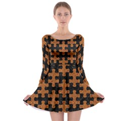 Puzzle1 Black Marble & Rusted Metal Long Sleeve Skater Dress