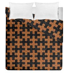 Puzzle1 Black Marble & Rusted Metal Duvet Cover Double Side (queen Size)