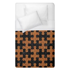 Puzzle1 Black Marble & Rusted Metal Duvet Cover (single Size) by trendistuff