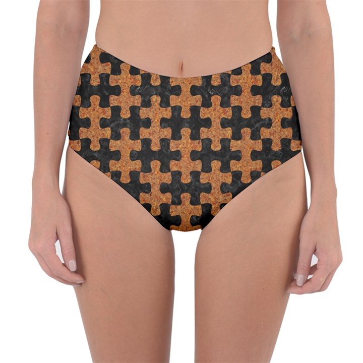 PUZZLE1 BLACK MARBLE & RUSTED METAL Reversible High-Waist Bikini Bottoms