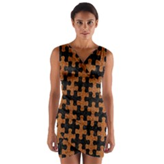 Puzzle1 Black Marble & Rusted Metal Wrap Front Bodycon Dress