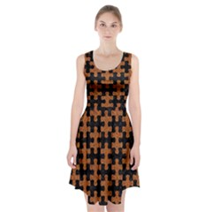 Puzzle1 Black Marble & Rusted Metal Racerback Midi Dress