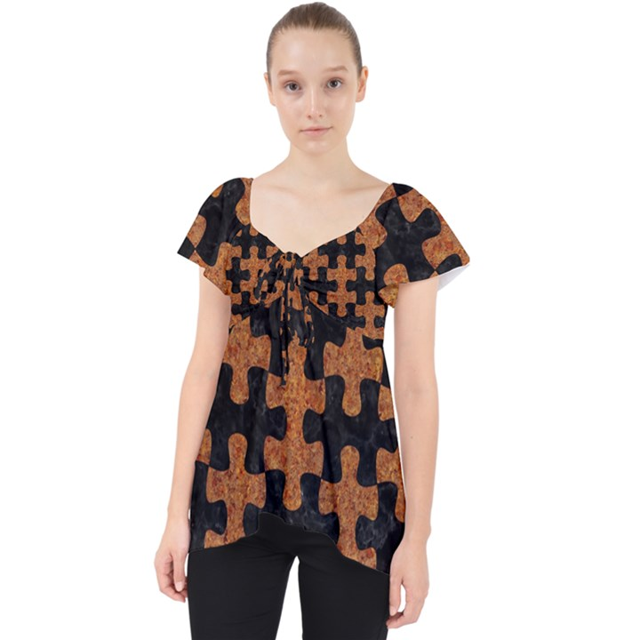 PUZZLE1 BLACK MARBLE & RUSTED METAL Lace Front Dolly Top