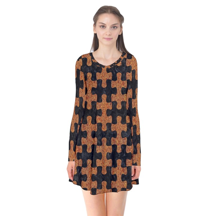 PUZZLE1 BLACK MARBLE & RUSTED METAL Flare Dress