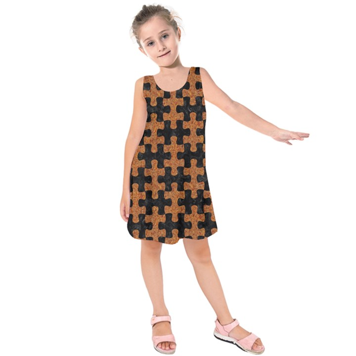 PUZZLE1 BLACK MARBLE & RUSTED METAL Kids  Sleeveless Dress