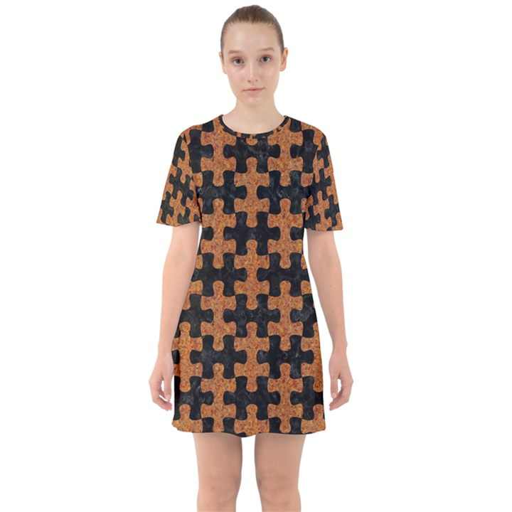 PUZZLE1 BLACK MARBLE & RUSTED METAL Sixties Short Sleeve Mini Dress