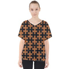 Puzzle1 Black Marble & Rusted Metal V Neck Dolman Drape Top