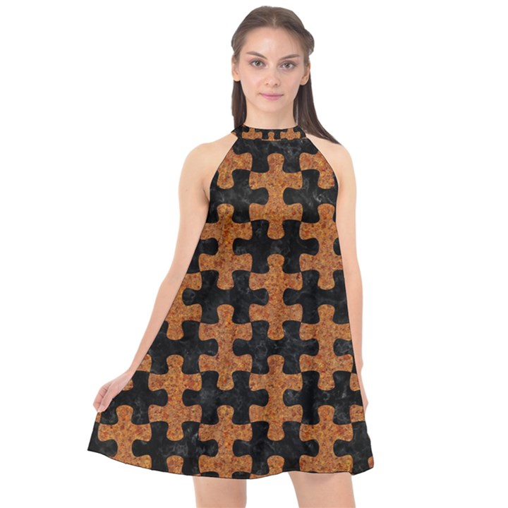 PUZZLE1 BLACK MARBLE & RUSTED METAL Halter Neckline Chiffon Dress