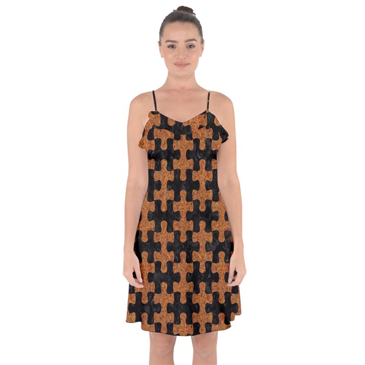 PUZZLE1 BLACK MARBLE & RUSTED METAL Ruffle Detail Chiffon Dress