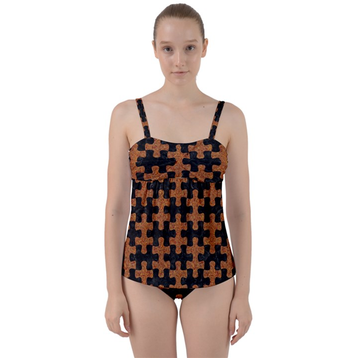PUZZLE1 BLACK MARBLE & RUSTED METAL Twist Front Tankini Set