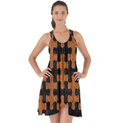 Puzzle1 Black Marble & Rusted Metal Show Some Back Chiffon Dress
