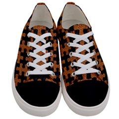 Puzzle1 Black Marble & Rusted Metal Women s Low Top Canvas Sneakers