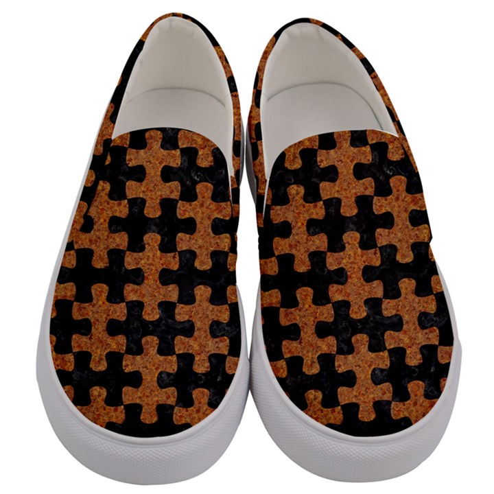 PUZZLE1 BLACK MARBLE & RUSTED METAL Men s Canvas Slip Ons