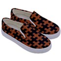 PUZZLE1 BLACK MARBLE & RUSTED METAL Kids  Canvas Slip Ons View3