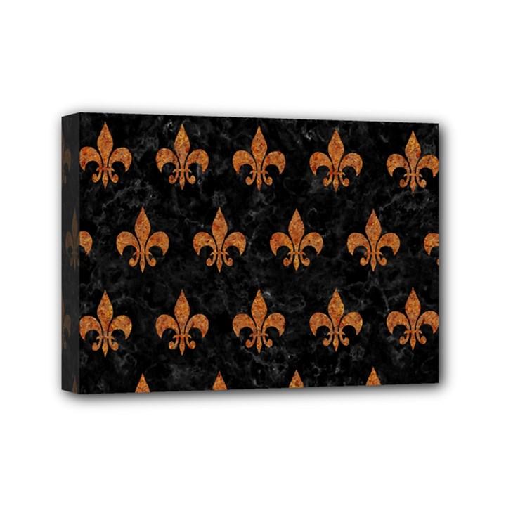 ROYAL1 BLACK MARBLE & RUSTED METAL Mini Canvas 7  x 5