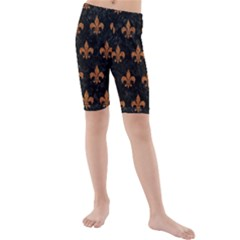 ROYAL1 BLACK MARBLE & RUSTED METAL Kids  Mid Length Swim Shorts