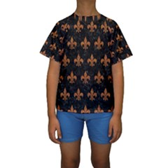 ROYAL1 BLACK MARBLE & RUSTED METAL Kids  Short Sleeve Swimwear