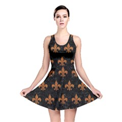 ROYAL1 BLACK MARBLE & RUSTED METAL Reversible Skater Dress