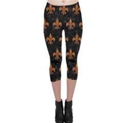 Royal1 Black Marble & Rusted Metal Capri Leggings