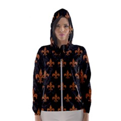 ROYAL1 BLACK MARBLE & RUSTED METAL Hooded Wind Breaker (Women)