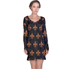 ROYAL1 BLACK MARBLE & RUSTED METAL Long Sleeve Nightdress