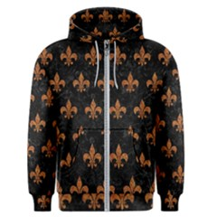 ROYAL1 BLACK MARBLE & RUSTED METAL Men s Zipper Hoodie