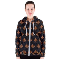 Royal1 Black Marble & Rusted Metal Women s Zipper Hoodie