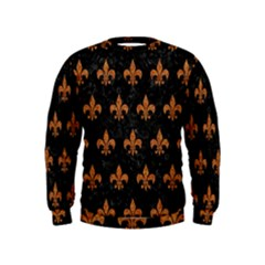 ROYAL1 BLACK MARBLE & RUSTED METAL Kids  Sweatshirt