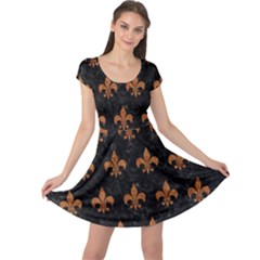 ROYAL1 BLACK MARBLE & RUSTED METAL Cap Sleeve Dress