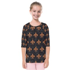 ROYAL1 BLACK MARBLE & RUSTED METAL Kids  Quarter Sleeve Raglan Tee