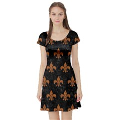 ROYAL1 BLACK MARBLE & RUSTED METAL Short Sleeve Skater Dress