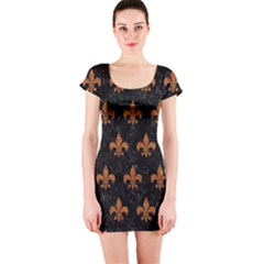 ROYAL1 BLACK MARBLE & RUSTED METAL Short Sleeve Bodycon Dress