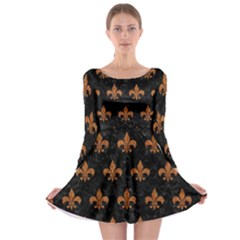 ROYAL1 BLACK MARBLE & RUSTED METAL Long Sleeve Skater Dress