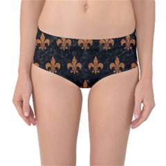 ROYAL1 BLACK MARBLE & RUSTED METAL Mid-Waist Bikini Bottoms