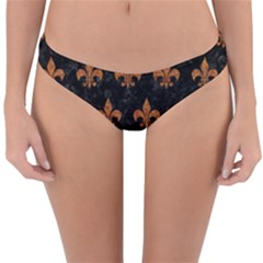 Royal1 Black Marble & Rusted Metal Reversible Hipster Bikini Bottoms