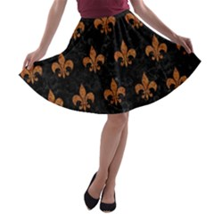 ROYAL1 BLACK MARBLE & RUSTED METAL A-line Skater Skirt