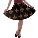 ROYAL1 BLACK MARBLE & RUSTED METAL A-line Skater Skirt