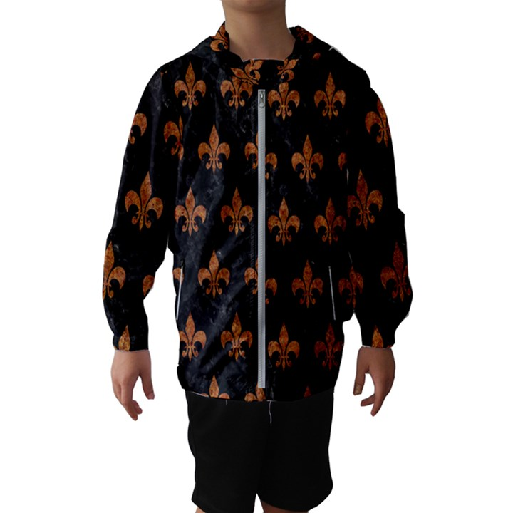 ROYAL1 BLACK MARBLE & RUSTED METAL Hooded Wind Breaker (Kids)
