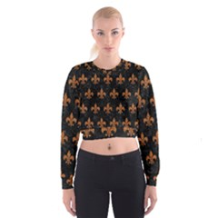 ROYAL1 BLACK MARBLE & RUSTED METAL Cropped Sweatshirt