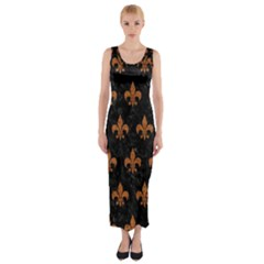 ROYAL1 BLACK MARBLE & RUSTED METAL Fitted Maxi Dress
