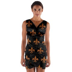 ROYAL1 BLACK MARBLE & RUSTED METAL Wrap Front Bodycon Dress