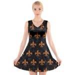 ROYAL1 BLACK MARBLE & RUSTED METAL V-Neck Sleeveless Skater Dress